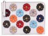 Fendi Flower-Embellished Leather Clutch