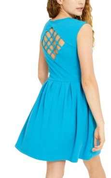 Emerald Sundae Juniors' Lattice-Back Fit & Flare Dress