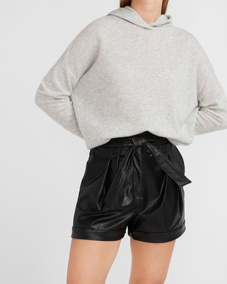Express Super High Waisted Belted Vegan Leather Shorts