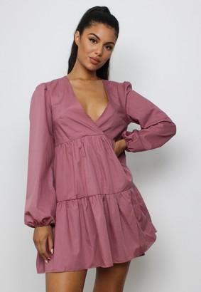 Missguided Blush V Neck Tiered Smock Dress