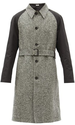 Alexander McQueen Contrast-sleeves Wool-tweed Trench Coat - Black White