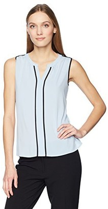 Calvin Klein Women's Sleeveless Piped Top with V-Neck