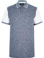 River Island MensBlue texture front polo shirt