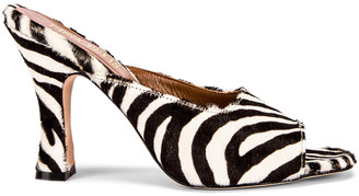 Paris Texas Pony Square Toe Mule in Black & White Zebra | FWRD