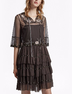 French Connection Alyssa Dress - 8 - Brown