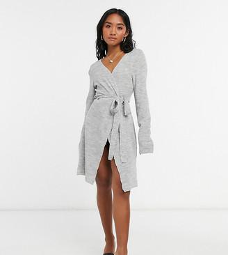 Vila Petite knitted wrap dress in grey