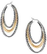 John Hardy Classic Chain Hammered 18K Gold & Silver Medium Hoop Earrings