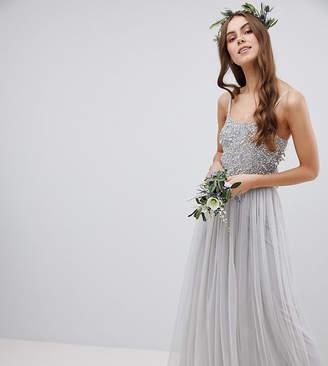 Maya Tall Cami Strap Sequin Top Tulle Detail Maxi Bridesmaid Dress-Gray
