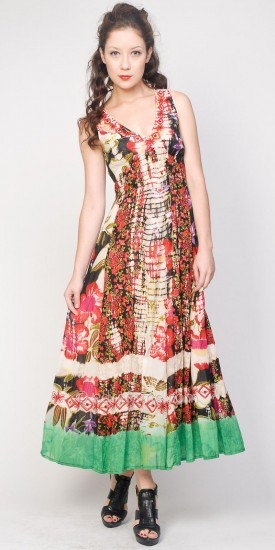 Chaudry Red Print Maxi Dresses