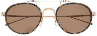 Thom Browne Eyewear Tortoiseshell Effect Sunglasses