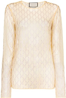 Gucci GG-embellished mesh top