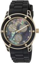 Mother of Pearl Wellington Geraldine Women's Quartz Watch with Dial Analogue Display and Black Silicone Strap WN506-222B