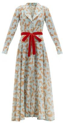 Galanthya - Arco Floral-print Cotton-muslin Robe - Blue Print