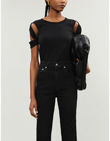 Helmut Lang Cut-out sleeves cotton-jersey T-shirt