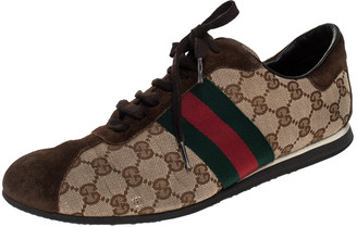 Gucci Beige/Brown GG Canvas And Suede Ace Vintage Web Lace Up Sneakers Size 41.5