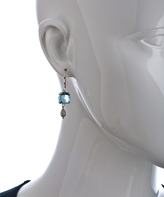 Sara Blaine Blue Topaz Aegean Silver Scroll Earrings