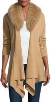 Neiman Marcus Cashmere Cardigan w/ Removable Fur Collar, Camel