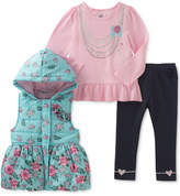 Kids Headquarters 3-Pc. Hooded Puffer Vest, Peplum Top & Leggings Set, Baby Girls (0-24 months)