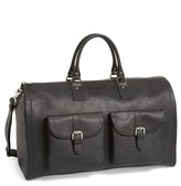 hook + ALBERT Men's Saffiano Leather Garment/duffel Bag - Black