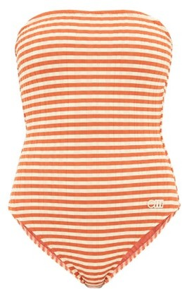 Solid & Striped Madeline Striped Strapless Swimsuit - Womens - Red Stripe