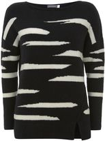 Mint Velvet Black Irregular Stripe Boxy Knit