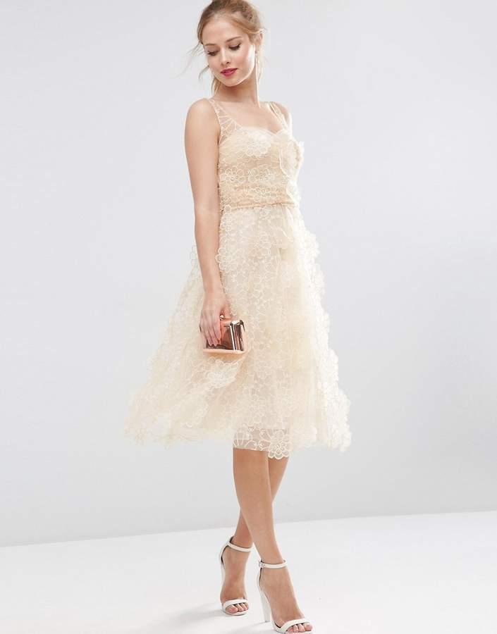 Asos Design SALON 3D Flower Organza Midi Prom Dress