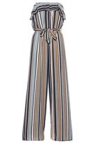 Quiz Blue Tan And Cream Stripe Strapless Jumpsuit