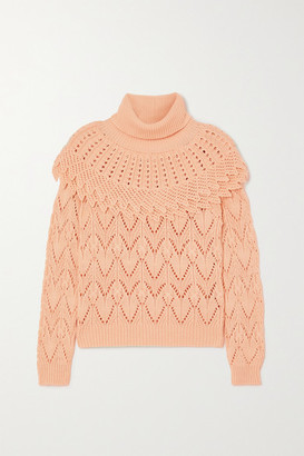 Zimmermann Ladybeetle Pointelle-knit Cotton And Linen-blend Turtleneck Sweater - Blush