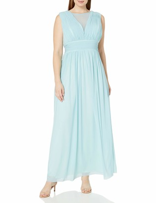 Marina Women's Long Dress with Sheer Insert at Center Front Neckline