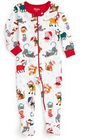 Hatley Infant Girl's Holiday Cats Fitted One-Piece Pajamas