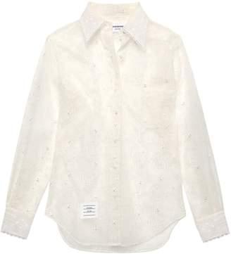 Thom Browne Embroidered Silk-organza Shirt