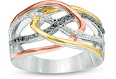 Zales 1/6 CT. T.W. Enhanced Black and White Diamond Layered Crossover Ring in 10K Tri-Tone Gold