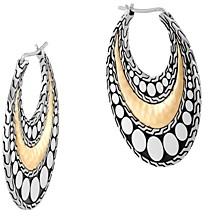 John Hardy Hammered 18K Gold & Sterling Silver Dotted Hoop Earrings