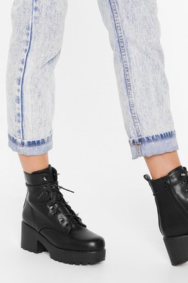 Nasty Gal Womens Spike Back Faux Leather Lace-Up Boots - Black