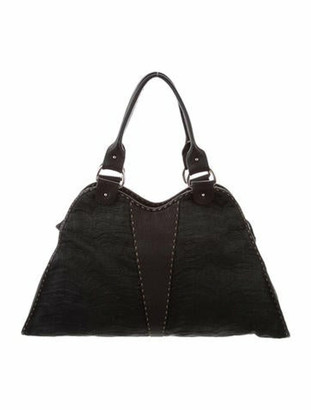 Fendi Leather-Trimmed Straw Bag Black