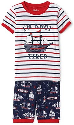 Hatley Nautical Ships Short Applique PJ Set (Toddler/Little Kids/Big Kids) (Blue) Boy's Pajama Sets