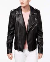 GUESS Men's Faux Leather Moto Jacket