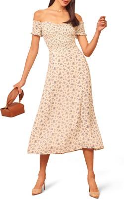 Reformation Murphy Floral Off the Shoulder Dress