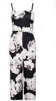 Quiz Black and Cream Floral Print Culotte Jumpsuit