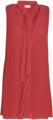 RED Valentino Pleated Pussy Bow Dress