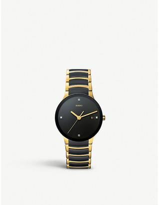 Rado Women's Gold and Black R30929712 Centrix Ceramic Watch