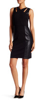 Laundry by Shelli Segal Cutout Faux Leather Panel Sheath Dress