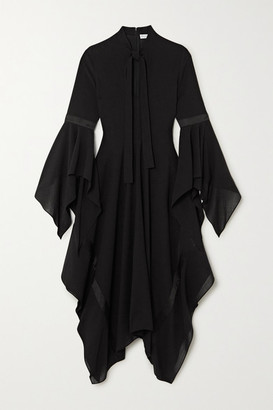 J.W.Anderson Tie-neck Satin-trimmed Gauze Maxi Dress - Black