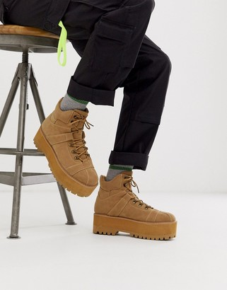 Asos Design DESIGN lace up boots in tan faux suede with chunky platform sole