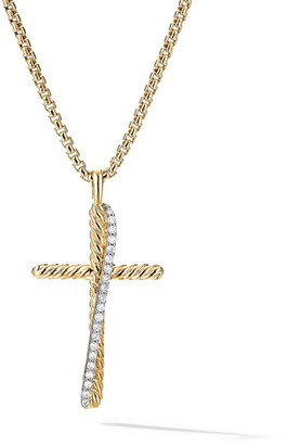 David Yurman Crossover Cross Necklace in 18K Yellow Gold with Pave Diamonds