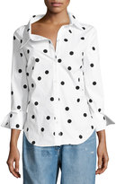 Monse Polka Dot Stretch-Cotton Blouse, White/Black
