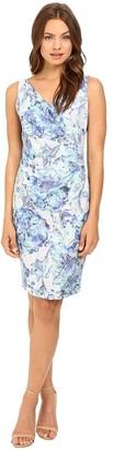 Adrianna Papell Women's Sleeveless Pleat Wrap Front Sheath Dress