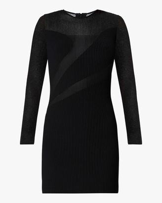 Herve Leger Opaque Sheer Long-Sleeve Dress