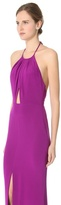Cushnie et Ochs Long Dress with Keyhole Front and Tie Neck