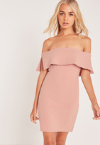 Missguided Bandeau Overlay Bodycon Dress Pink